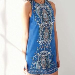 Open back blue shift dress